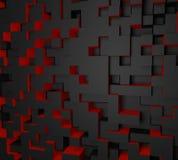 carta da parati astratta rossa e nera di 3D del cubo Estratto rosso e nero fotografia stock