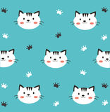 Carta da parati bianca del gatto Fotografia Stock