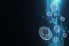 Carta da parati blu del bitcoin Fotografia Stock