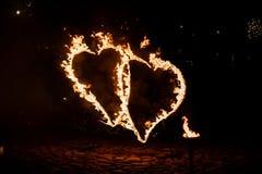 Carta da parati bruciante dei cuori Fotografia Stock Libera da Diritti
