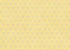 Carta da parati d'annata gialla con l'ornamento blu di flourish Fotografia Stock