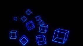 Carta da parati d'ardore blu di tecnologia del blockchain dei blocchi fotografia stock