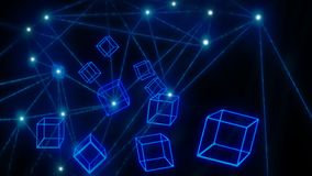 Carta da parati d'ardore blu di tecnologia del blockchain dei blocchi fotografie stock