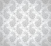 Carta da parati d'argento reale senza cuciture di Paisley Immagine Stock