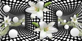 carta da parati 3d, calle bianche e sfera sul fondo di illusioni ottiche illustrazione vettoriale