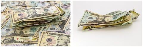 Carta da parati dei contanti sgualcita mucchio dei soldi Fotografie Stock