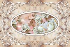 carta da parati dei murali del soffitto 3d, struttura bianca della decorazione, rose di pietra nel mezzo su fondo di marmo grigio royalty illustrazione gratis