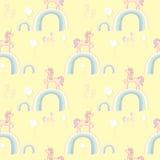 Carta da parati dei Rainbow degli unicorni Fotografia Stock