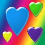 Carta da parati del Rainbow con i cuori di galleggiamento della bolla illustrazione vettoriale