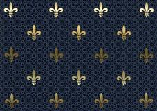 Carta da parati della priorità bassa del Dark-blue Fleur De Lis Immagine Stock