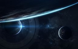 Carta da parati dello spazio della fantascienza, pianeti incredibilmente bei, galassie Elementi di questa immagine ammobiliati da immagini stock