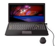 Carta da parati dello spazio su un computer portatile Desktop computer Fotografia Stock