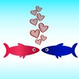 Carta da parati di amore dell'icona del pesce Fotografia Stock Libera da Diritti