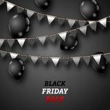 Carta da parati di Black Friday con i palloni e gli stendardi brillanti della stamina Fotografia Stock Libera da Diritti