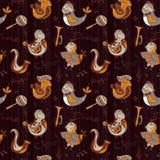 Carta da parati di concetto dell'orchestra di jazz del fumetto Gli uccelli cantano e dancing Il modello senza cuciture può essere Fotografie Stock