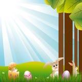 Carta da parati di festa di primavera con il burst blu dell'indicatore luminoso illustrazione vettoriale