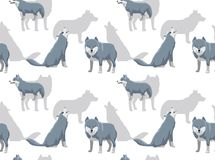 Carta da parati di Grey Wolf Cartoon White Background Seamless Fotografia Stock