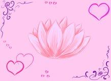 Carta da parati di vettore con il loto rosa del fiore illustrazione vettoriale