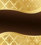 Carta da parati dorata del damasco con l'onda Copyspace Fotografia Stock