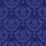 Carta da parati floreale blu di lusso del damasco Fotografie Stock