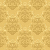 Carta da parati floreale dorata senza giunte Immagine Stock