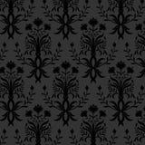 Carta da parati floreale nera senza cuciture Fotografie Stock