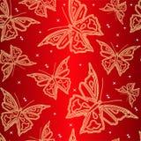 Carta da parati ornamentale senza giunte con la farfalla Fotografia Stock Libera da Diritti