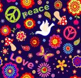 Carta da parati puerile con i fiori astratti variopinti, hippy simbolico, funghi e colomba Fotografia Stock
