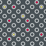 Carta da parati senza cuciture con i fiori bianchi ed i cerchi multicolori Fotografia Stock