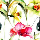 Carta da parati senza cuciture con i fiori del papavero e del narciso Immagini Stock