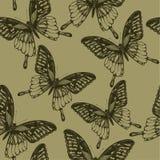 Carta da parati senza cuciture con le farfalle, a mano disegno Illus di vettore Fotografia Stock Libera da Diritti