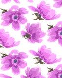 Carta da parati senza cuciture dei fiori dipinti a mano antichi dell'acquerello Immagine Stock