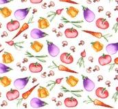 Carta da parati senza cuciture del pomodoro della carota del pepe della melanzana della cipolla di inverno del fungo del ravanell Immagini Stock Libere da Diritti