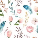 Carta da parati senza cuciture dell'acquerello di boho con i fiori del fiore e le foglie, illustrazione della natura della molla  Fotografie Stock