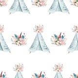 Carta da parati senza cuciture dell'acquerello di boho con i fiori del fiore e le foglie, illustrazione della natura della molla  Fotografia Stock