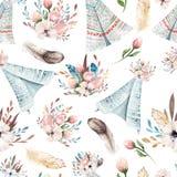Carta da parati senza cuciture dell'acquerello di boho con i fiori del fiore e le foglie, illustrazione della natura della molla  Fotografie Stock Libere da Diritti
