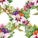 Carta da parati senza cuciture floreale nello stile dell'acquerello Fotografia Stock Libera da Diritti
