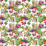 Carta da parati senza cuciture floreale nello stile dell'acquerello Fotografia Stock