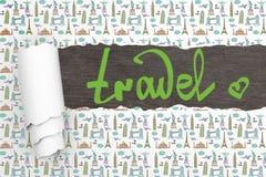 Carta da parati strappata concetto di viaggio Immagini Stock