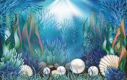 Carta da parati subacquea con le perle illustrazione di stock