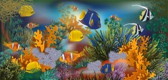Carta da parati tropicale subacquea, vettore Fotografia Stock