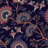 Carta da parati variopinta con Paisley e le piante decorative Batik floreale indonesiano di vettore Indiano decorativo di vettore illustrazione vettoriale
