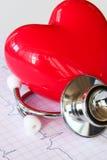 Carta da saúde do estetoscópio com coração Imagens de Stock Royalty Free