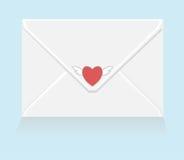 Carta de amor blanca con la etiqueta engomada del corazón del vuelo Foto de archivo