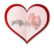 A carta de amor com aumentou Ilustração Stock