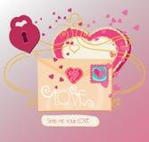 Carta de amor do vetor para o dia de Valentine's Fotografia de Stock