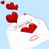 Carta de amor en fondo azul Imagenes de archivo