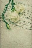 Carta de amor escrita à mão velha com flores Fotos de Stock Royalty Free