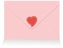 Carta de amor rosada con la etiqueta engomada roja del corazón Fotografía de archivo