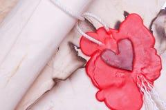 Carta de amor velha foto de stock